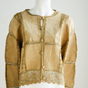 Vintage Scully Suede and Crochet Patchwork Jacket